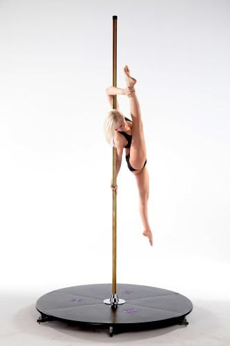 X Pole X Stage lite brass freestanding home dance pole with base