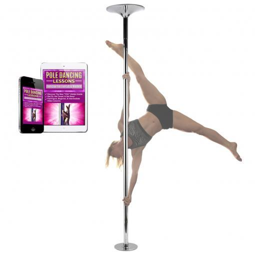 woman dancer on PFD Pro Quality chrome portable removable spinning static dance pole home kit 45mm studio fitness workout exercise dancing with lessons online