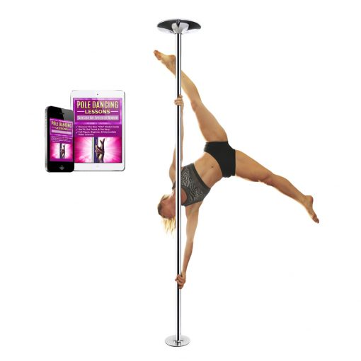 woman dancer on PFD Pro Quality chrome portable removable spinning static dance pole home kit 45mm studio fitness stripper workout exercise dancing with lessons online