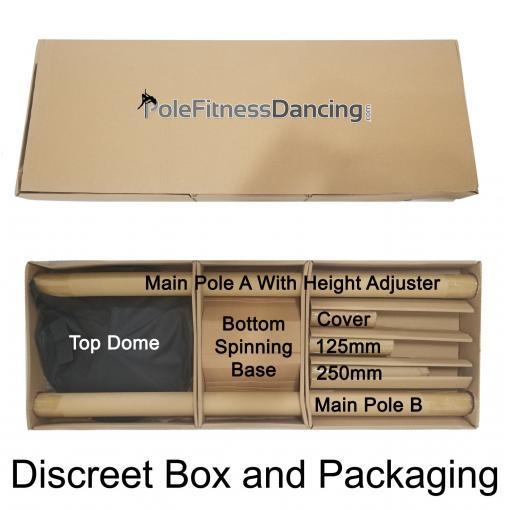 PFD Pro Quality pole dancing fitness workout portable spinning removable static dance pole kit box and box contents