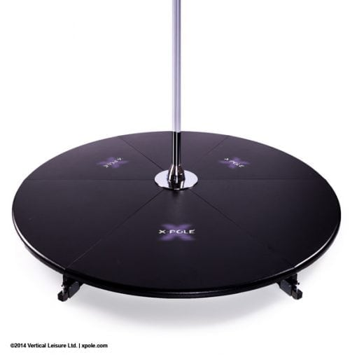 X Pole X Stage Lite base with logo for freestanding portable dance poles