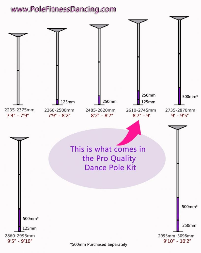 portable removable spinning dance pole extension and height chart