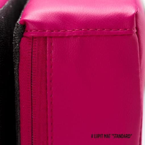 Lupit pink round foldable pole dance crash mat pat black stitching