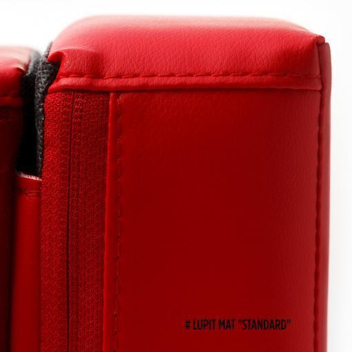 Lupit red round foldable pole dance crash mat pat black stitching