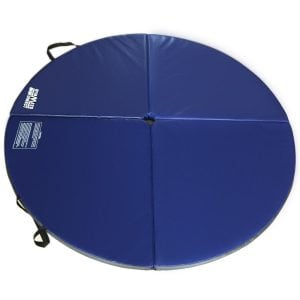 blue round crash mat for pole dancing open