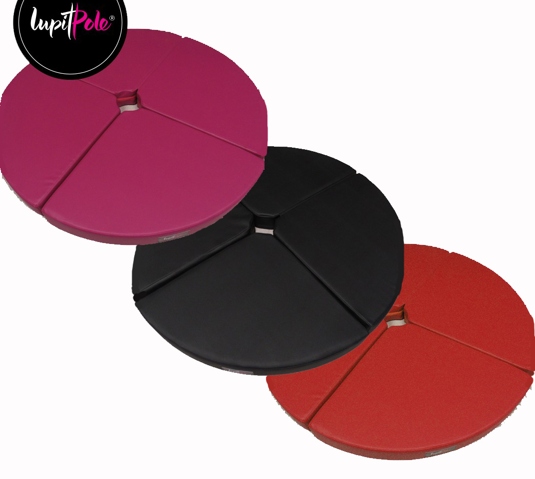 pink red black round standard lupit pole dance crash mat