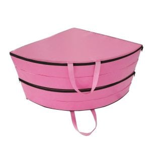 pink round pole dance crash mat folded up front view with handles