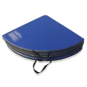 pole dancing crash mat folded up with carrying handles