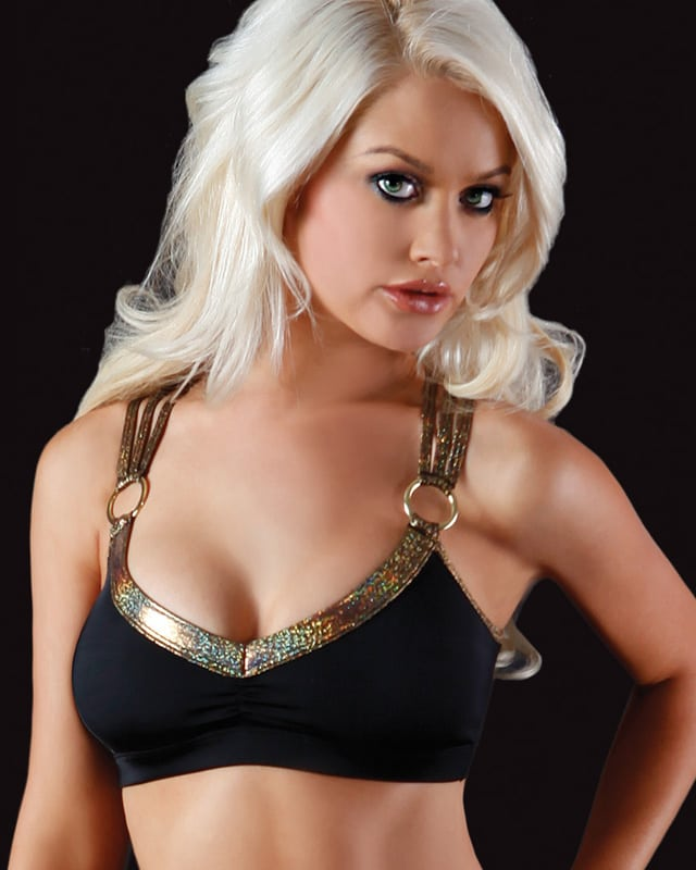 gold and black bra top for pole dance fitness bodyzone