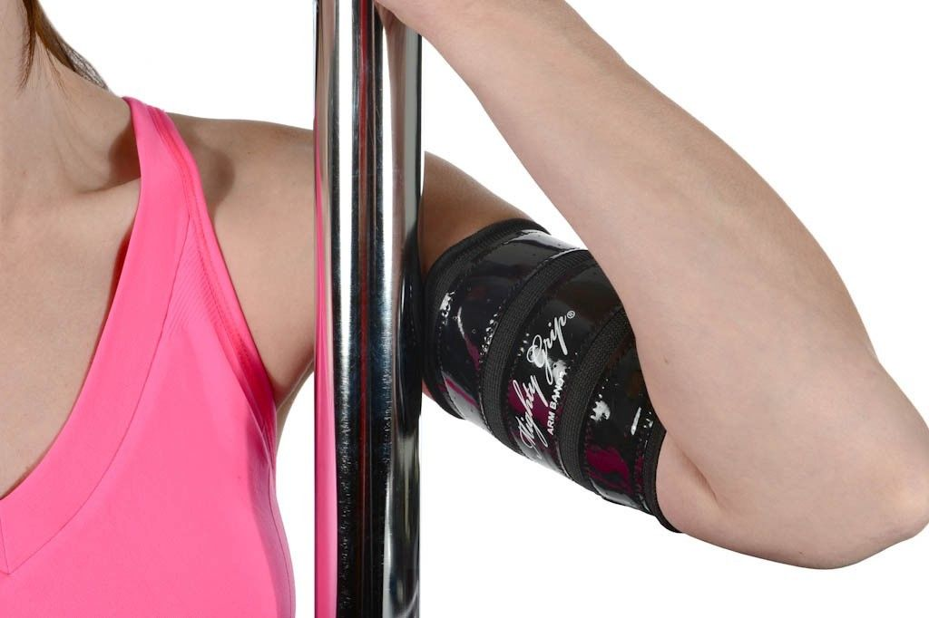 Upper inner arm protector bands with tack for pole dancing aerial fitness by mighty grip