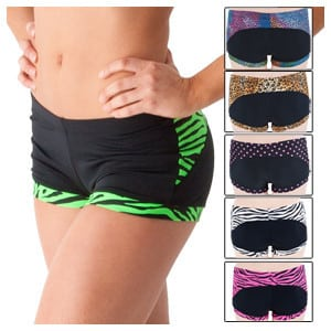 pole dancing shorts with a band to hold bottom in