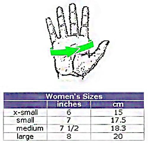 grip glove sizing chart