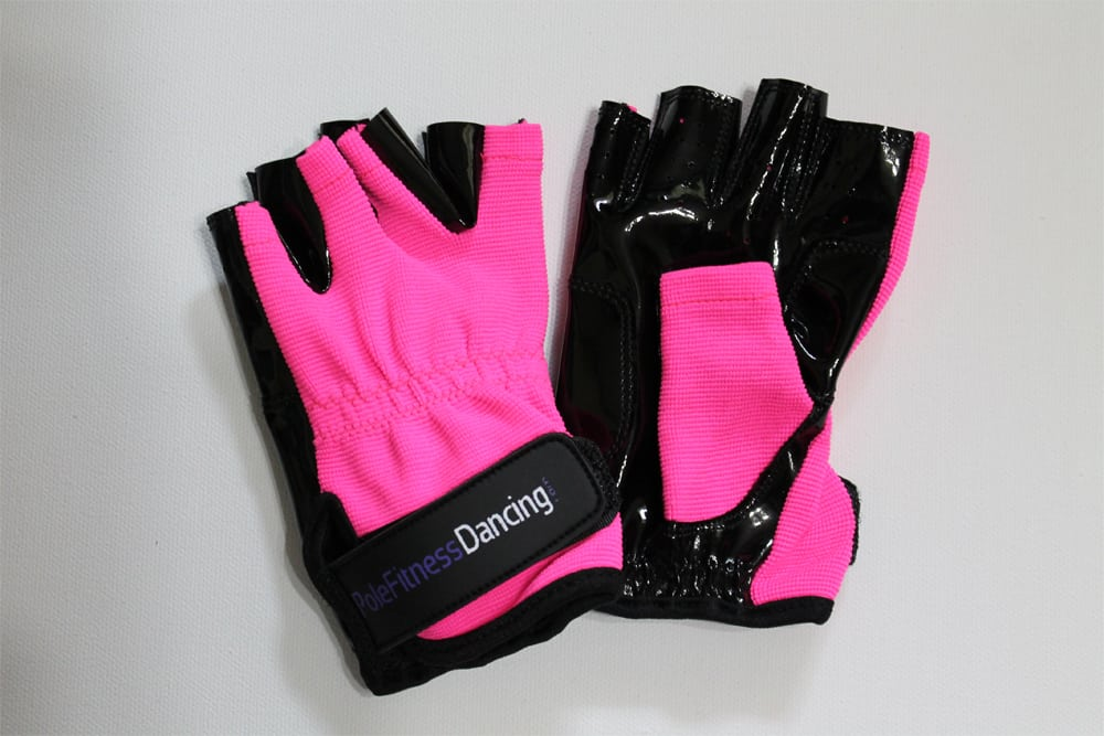 hot pink tacky grip gloves for pole dance or weight training