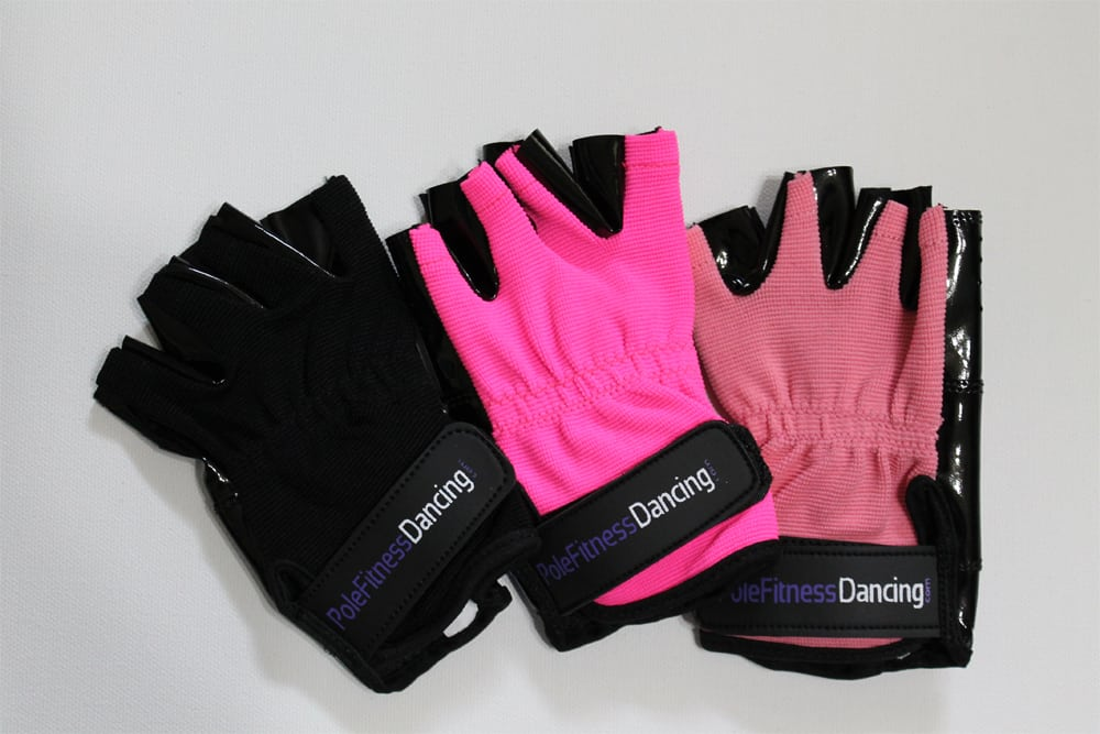 pink hot black tack and non-tack grip gloves for pole dance fitness