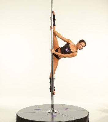 Chrome X stage Standard stand alone portabe dance pole with a base