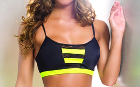 yellow and black pole fitness dancing bra top