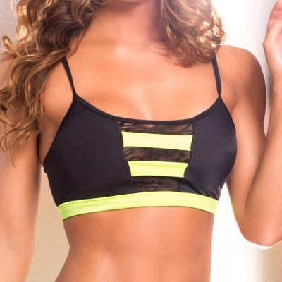 yellow and black pole dance fitness bra top