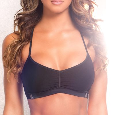black and silver pole dancing fitness bra top
