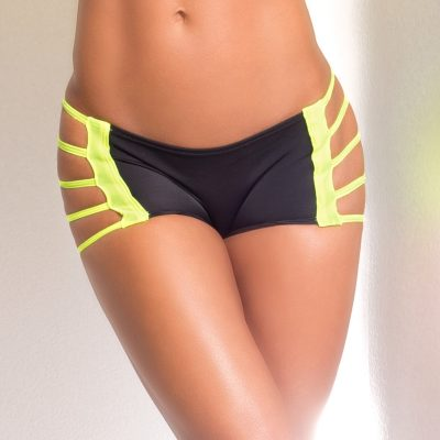 yellow and black pole dancing fitness shorts