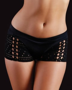 eye cut outs black shorts for dance fitness