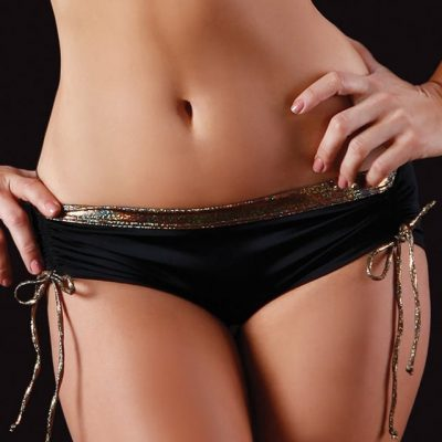 gold black side tie shorts for pole dancing fitness