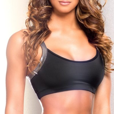 black and silver fitness pole dance bra top