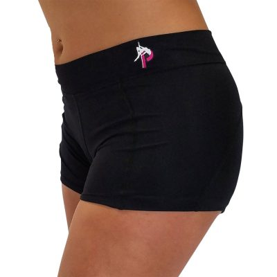 Logo pole dance fitness black workout booty shorts