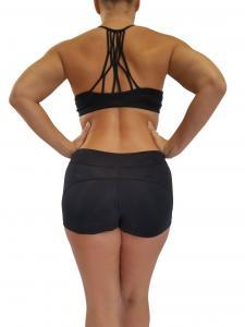 back view black strappy back bra top shorts set pole dance fitness clothing
