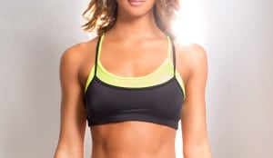 Nose breaker bra top yellow black pole dance fitness workout top layered
