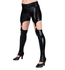 black pleather pole dance leggings