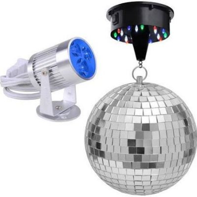 mirror disco ball set blue lights