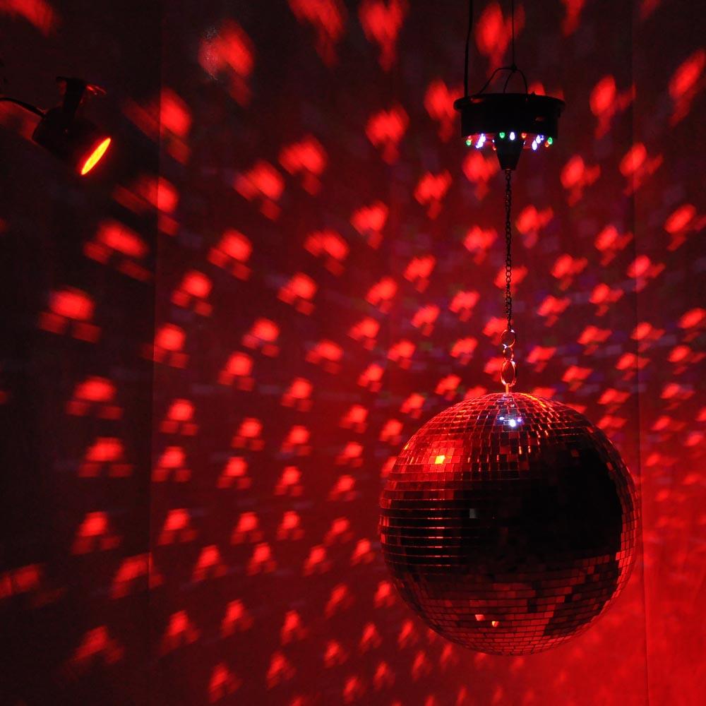 Mirror Rotating Disco Ball Kit Red Light 12