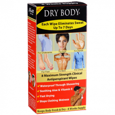 Dry body antiperspirant wipes for sweat and odor during pole dancing