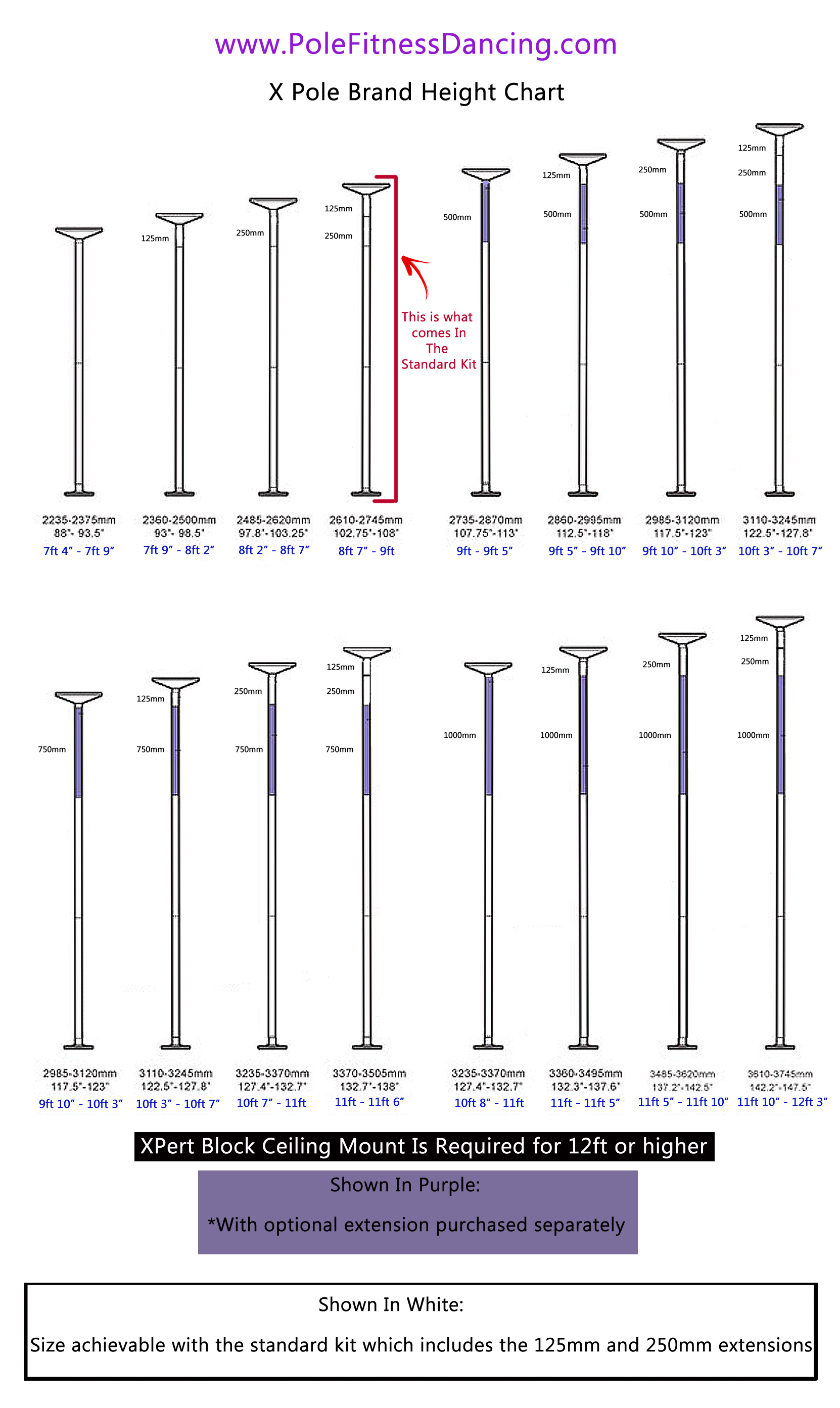 X Pole dance pole ceiling height chart