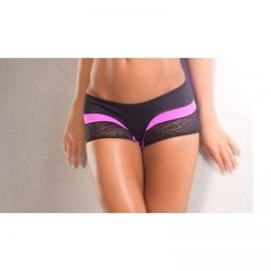 rainbow pink scrunch back short for pole fitness dancing front view bodyzone