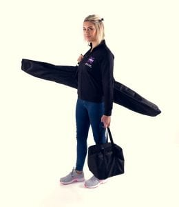 X Pole A Frame Aerial Fitness in all carrying bags with pole fitness woman