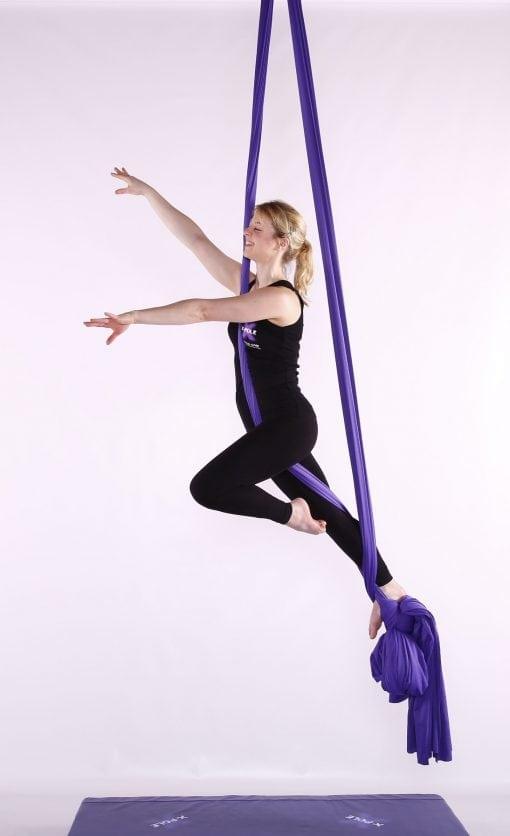 X Pole Purple aerial silks flying
