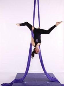 X Pole Purple aerial silks inverted