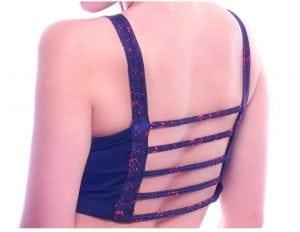 dangerous bridge BodyZone fire print red black pole dance fitness booty bra top strappy back