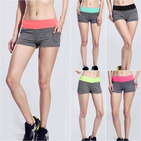 Sexy Women Running Yoga Shorts High Waist Breathable Sports Fitness Shorts Compression Slim Fit Elastic Solid Gym Workout pocket