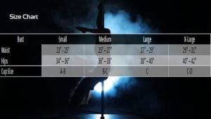 general pole dancing fitness clothing Size Chart