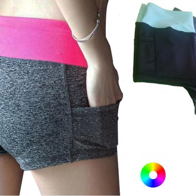 high mid waist yoga pole dance fitness booty shorts with pocket