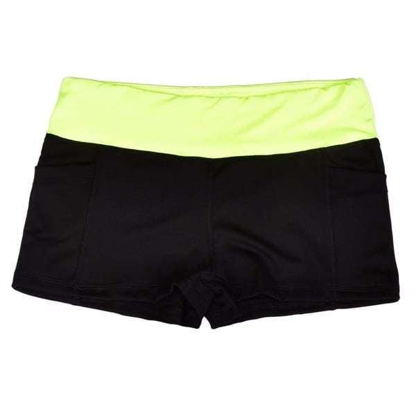 9a5c6e3dde8 neon yellow black heather pole dancing workout fitness high waist booty  dance shorts back pocket