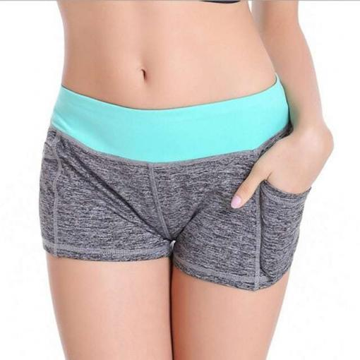 women-YOGA-sports-training-running-short-pants-gym-sweatpants-workout-shorts-with-pocket teal