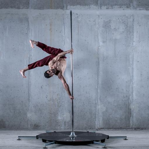 guy on Lupit freestanding stand alone stage long legs pole dance fitness dancing base platform