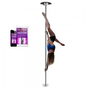 chrome portable removable spinning 45mm dance pole kit for home lessons
