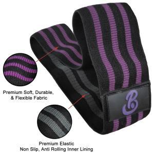 Fabric Resistance Bands Circle for Hip Legs Butt exercise showing Elastic Lining Details PoleBody purple