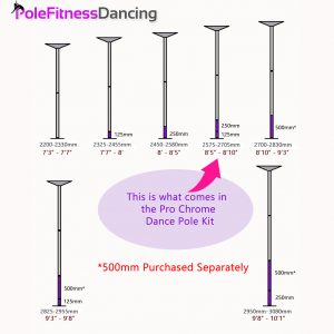 Kaiezen screw together dance pole extension and height chart
