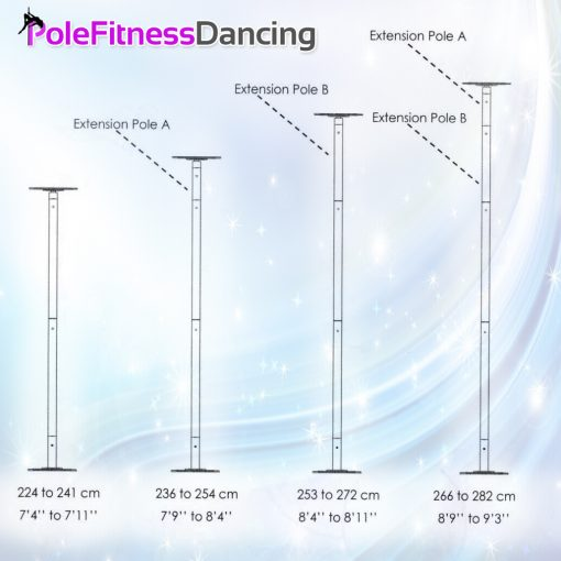 flat dome pole dancing pole height chart with extensions