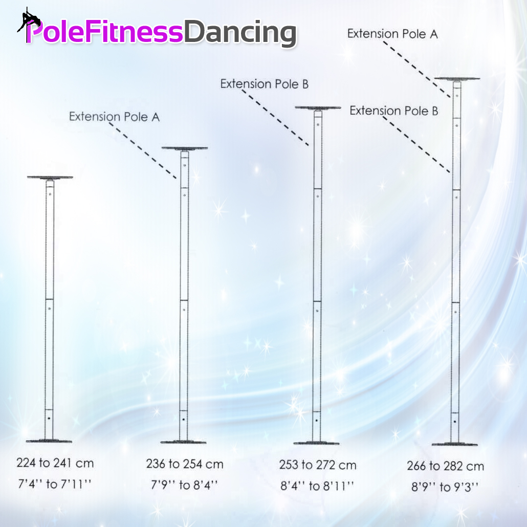 Flat dome pro quality dance pole height chart